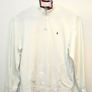 Polo Ralph Lauren Mens White Quarter Zip Sweater